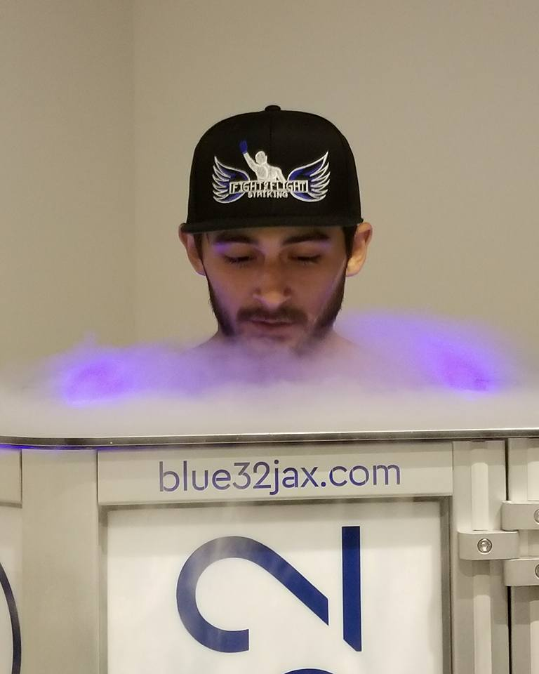 A happy Cryotherapy customer at Blue32 Jax.